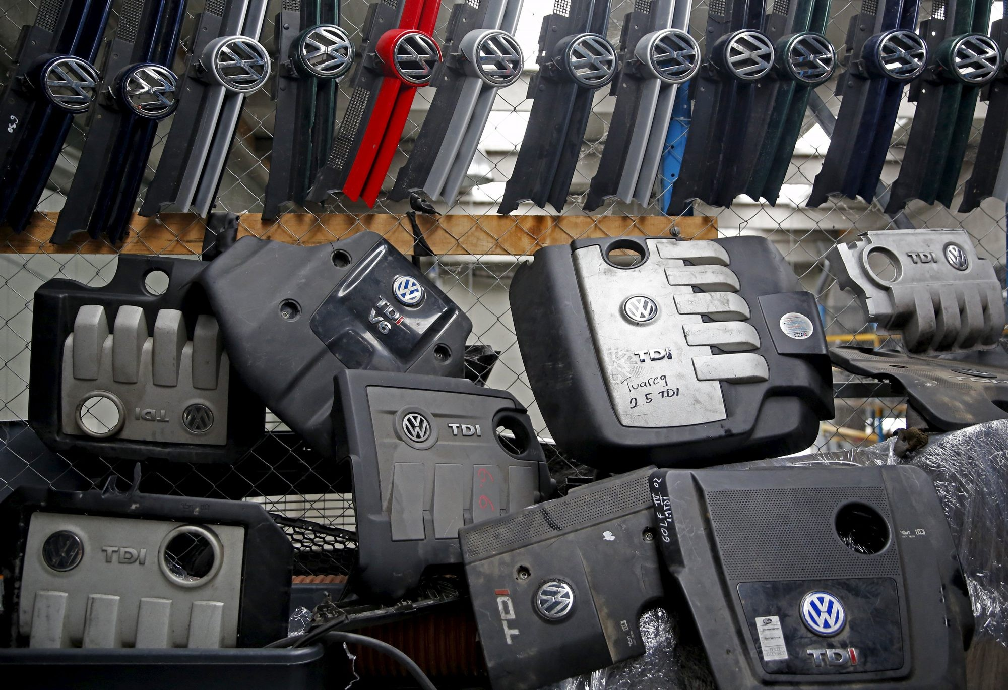 Volkswagen hood masks and covers for diesel TDI engine are seen in this illustration in second-hand car parts in Jelah