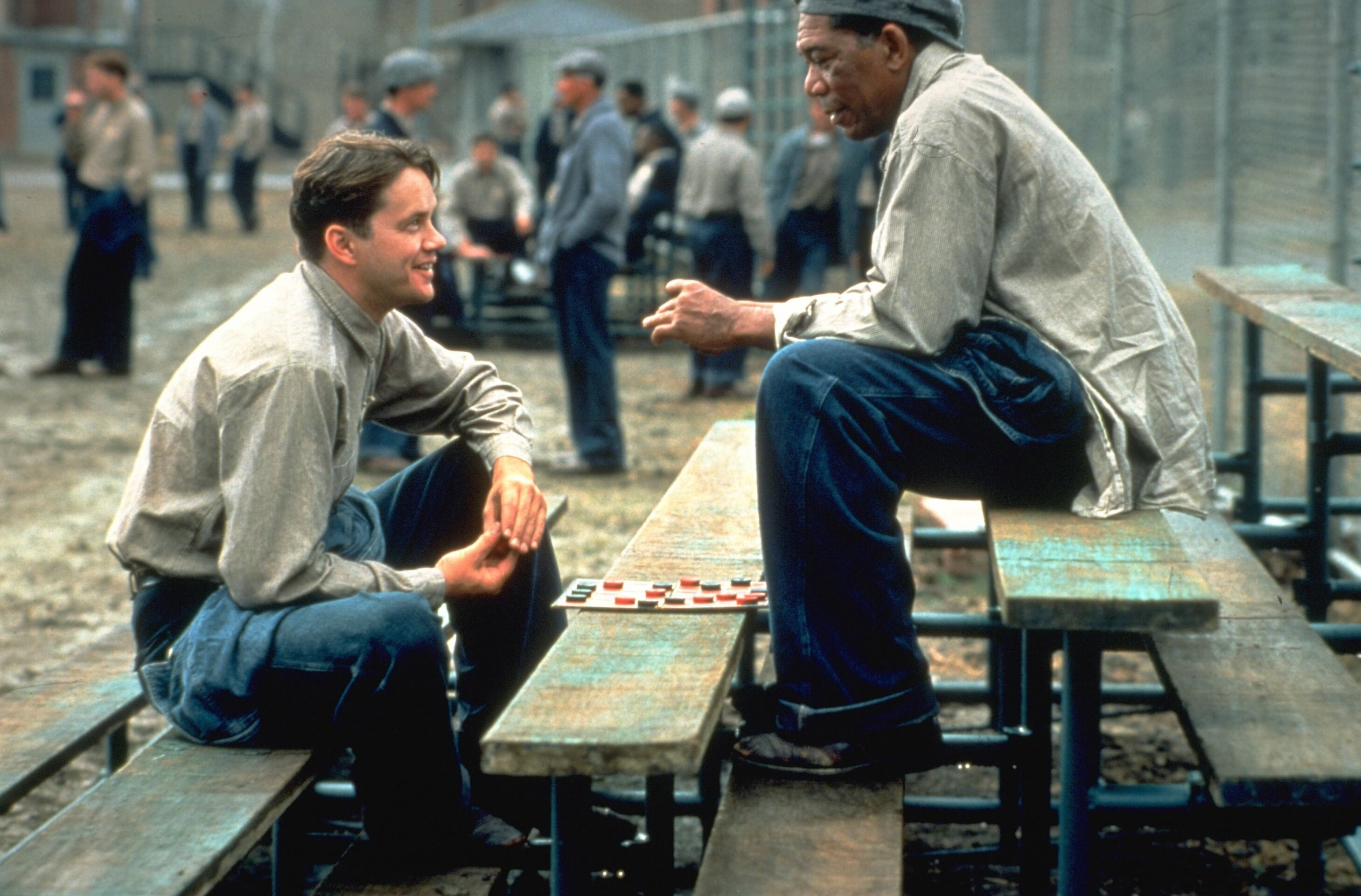 "Morgan Freeman in The Shawshank Redemption. ""Rechtsaf was de verkeerde keuze, Tim."" Foto: The Shawshank Redemption"
