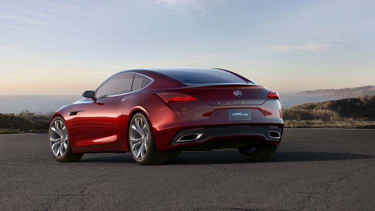 Buick Avista Concept rear view shown in lacquer jewel red finish