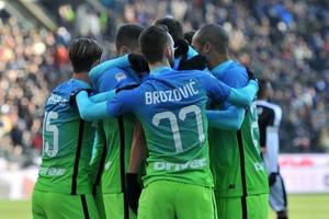 Internazionale viert een van de treffers van Ivan Perisic. © Hollandse Hoogte